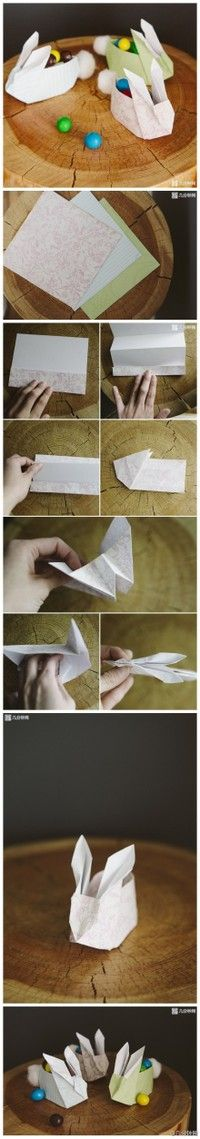 Panier d'origami de lapin de Pâques bricolage pour des bonbons – si mignon! – Origami Community : Explore the best and the most trending origami Ideas and easy origami Tutorial Diy Origami, Bunny Origami, Origami And Kirigami, Origami Tutorial, Origami Paper, Diy Tutorial, Oragami, Origami Flower, Diy For Kids