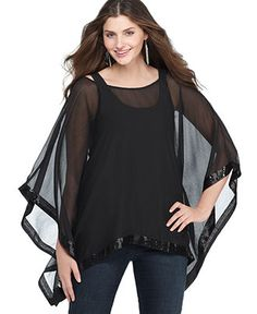 Fire Plus Size Top, Batwing Sleeve Sequined Poncho @ macys.com
