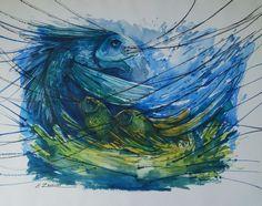 Original Surrealism Watercolor and Pen Artwork with Fish by Enrique Zaldivar | eBay