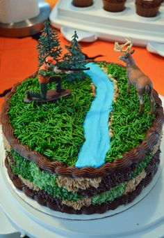Hunting Birthday Party Ideas - how to make a camouflage birthday cake.