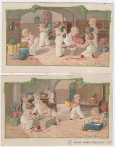 Pauli Ebner. Niños manipulando cajas de regalos.