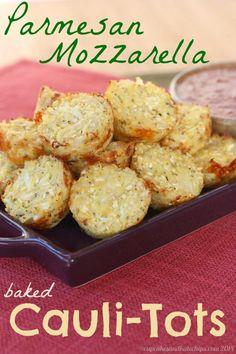 Parmesan Mozzarella Baked Cauli-Tots (aka Pizza-Tots)   cupcakesandkalechips.com   #cauliflower #glutenfree #sidedish #vegetables