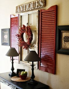 Dining room idea- prob not red but love the window & shutters