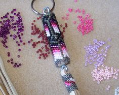 Native Made Beaded keychain by NavajoRainbowDesigns on Etsy
