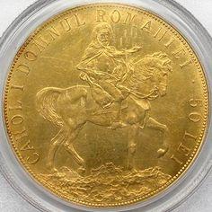 50 lei 1906 Gold Money, Gold And Silver Coins, World Coins, Vase, Rare Coins, Coin Collecting, Ancient Art, Nostalgia, Bronze