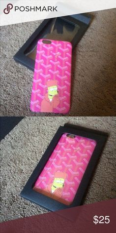Brand new iPhone & Bart Simpson Goyard case! Comes in popping pink color! Brand new, Never before been used! Ships same day from the heart of New York! Ask me for deals! New Iphone 6, 6 Case, Phone Accessories, Bart Simpson, Pink Color, Sunglasses Case, Ships, Phone Cases, York