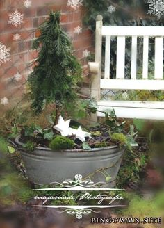 Christmas deco zinc tray with mini fir - Christmas Inspiration - weihnachts dekoration Christmas Porch, Noel Christmas, Outdoor Christmas, Country Christmas, Winter Christmas, Vintage Christmas, Christmas Crafts, Deco Nature, Deco Floral