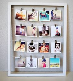 Viele Polaroids in einem Bilderrahmen
