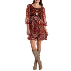 Paisley Print Chiffon Shift Dress