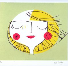 lovely sunny faced print by Lisa Stubbs  Repinned by RainyDayEmbroidery http://www.etsy.com/shop/RainyDayEmbroidery