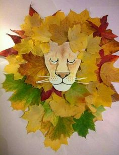 Loukoumiaou: Activités avec feuilles d'automne – tête de lion et crinière … Loukoumiaou: Aktivitäten mit Herbstlaub # 2 – Kopf und Mähne des Löwen in Blättern Kids Crafts, Leaf Crafts, Toddler Crafts, Arts And Crafts, Zoo Crafts, Autumn Crafts, Autumn Art, Nature Crafts, Autumn Leaves