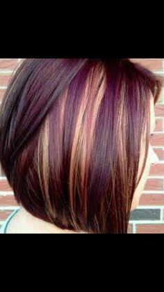 dark plum hair with highlights- fall hair:-) Dark Plum Hair, Dark Purple, Black And Burgundy Hair, Reddish Purple Hair, Black Hair, Violet Brown, Violet Hair, Hair Colours 2014, Cherry Hair Colors