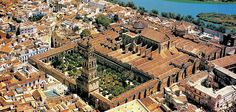 """Cordoba, Andalucia, Spain. The Mezquita Mosque  Aerial shoot of the Great Mosque In Cordoba, Spain, Andalucia. It was the second greatest Mosque in all over the world after the Mosque of """"La Mecca""""."""