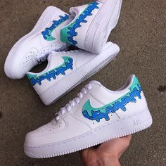Nike Shoes OFF! ►► These Customs are 🔥 Get them in all sizes! Or even your own design! Custom Painted Shoes, Custom Shoes, Custom Tennis Shoes, Custom Af1, Air Force Noir, Sneakers Fashion, Shoes Sneakers, Fashion Outfits, Nike Shoes Air Force