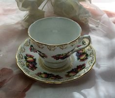 Vintage Royal Vale teacup  fruit design teacup  by NewtoUVintage