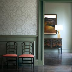 Olive wainscoting eith wallpaper style-Tours 312708 Stone by Zoffany wallpaper Zoffany Wallpaper, Damask Wallpaper, Designer Wallpaper, Yellow Hallway, Bathroom Color Schemes, How To Hang Wallpaper, Pastel, How To Make Curtains, Contemporary Interior