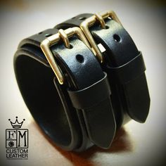 Leather cuff bracelet Black bridle leather by MataraCustomLeather