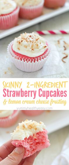 Skinny Strawberry Soda Cupcakes {with only 2 EASY ingredients...Hint, one is diet soda!} and a crazy awesome lemon cream cheese frosting!