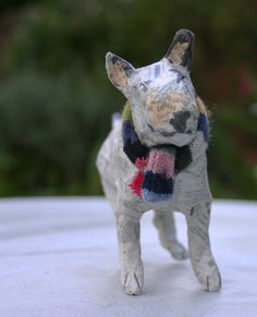 Enigmatic Papier Maché Bull Terrier with Striped Cashmere Scarf and Winning Smile