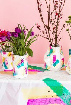 Paper Mache DIY Flower Vase http://asubtlerevelry.com/paper-mache-diy-flower-vase/