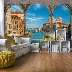 East Urban Home This wallpaper is a digital latex print with maximum resolution, guarantees colour saturation and stability. It is suitable for allergy sufferers. The material is strong and does not stretch during sticking. Photo Wallpaper, Wall Wallpaper, Photo Mural, Textile Texture, Blue Back, Venice Italy, Wall Murals, Digital Prints, Arch