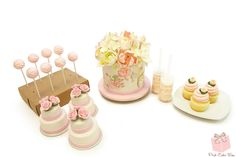 Cake Pops, Mini Cakes, Cake Topper, Push Pops and Cupcakes - all for a tea party themed birthday party!