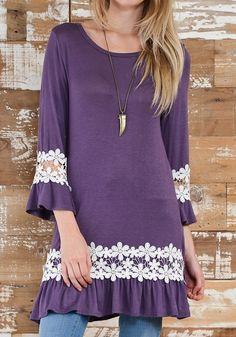 Purple Patchwork Lace Round Neck Fashion Polyester Mini Dress