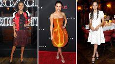 About Last Night: Selena Gomez Glows in Orange; Sasha Lane's Pearl-Embellished Leather Dress