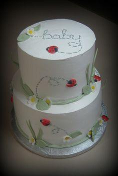 Ladybug baby shower; use white cake, and dye it blue or pink!