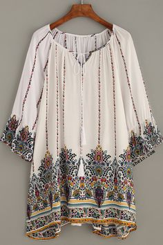 Retro Print Ruffle Sleeve Dress. Boho & hippie!