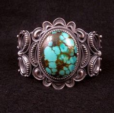 Kirk Smith Old Pawn Style Navajo Turquoise Sterling Silver Bracelet