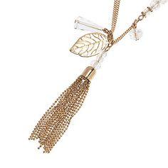 Gold tone tassel necklace
