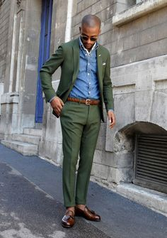 Olive suit, chambray shirt, and chestnut loafers