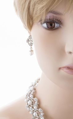 Bridal Wedding Jewelry Set Rhinestone Pearl Leaf White * Check out the image by visiting the link. (This is an affiliate link) #NiceJewelry