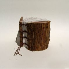Mini Rustic Natural Bark Cedar Wood Wedding Guestbook or Address Book or Journal by Tanja Sova