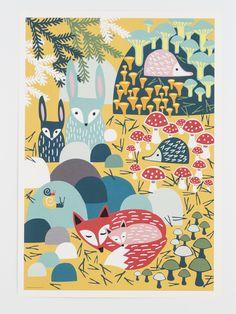Poster Animals forest animals children's room colorful by MUUMURU Forest Animals, Woodland Animals, Farm Animals, Artist Canvas, Canvas Art, Butterfly Canvas, Animal Posters, Animal Prints, Illustration