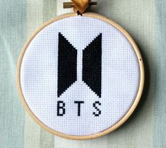 Items similar to BTS Bangtan Boys Cross Stitch 4 Inch Wall Logo Kpop Hanging Home Decor on Etsy Cross Stitch Hoop, Cross Stitch Art, Cross Stitching, Cross Stitch Patterns, Dmc Embroidery Floss, Embroidery Patterns, Hand Embroidery, Kpop Diy, Wall Logo