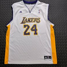 6e32dbc5b Details about Vintage Adidas Men s Lakers Kobe Bryant  24 NBA Basketball  Jersey White XL