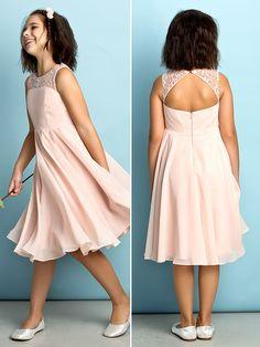 Knee-length Chiffon Junior Bridesmaid Dress - Pearl Pink A-line Scoop - USD $ 69.99