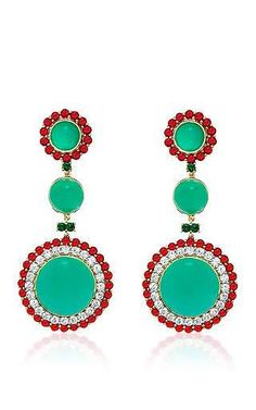One of a kind chrysoprase, burma ruby and diamond earrings . by ABELLAN NEW YORK Preorder Now on Moda Operandi