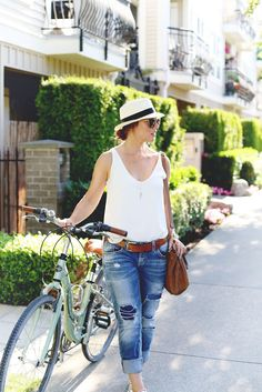 mint green cruiser bike, jeans, white tank, fedora // summer outfit