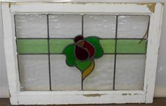 "OLD ENGLISH LEADED STAINED GLASS WINDOW TRANSOM Floral Band design 25.5""x17.25"""
