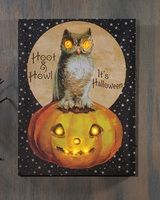 vintage Halloween art lighted picture, owl and pumpkin, Radiance Lighted Canvas Hoot and Howl x46725