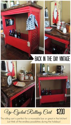 Upcycled vintage red rolling bar made by Back In The Day Vintage of Spring, TX  - SOLD