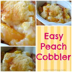 Easy Peach Cobbler Recipe | This Girl's Life Blog Fran Edwards made this for me and it is DECLICIOUS!!