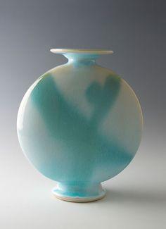 """Brother Thomas, Canteen Form Vase, Claire de Lune Glaze, porcelain, 10.5 x 9 x 4.25"""""""