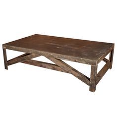 """1950  Industrial Shop Table Reduced to Coffee Table Proportions. 20""""H x 42""""D x 6'W."""
