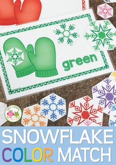 Snowflake activities for preschool, pre-k and tot school.  Teach colors, size sorting, and visual discrimination with this snowflake color and size sorting activity.  Perfect for your snow theme, snowman them, or snowflake theme lesson plans.
