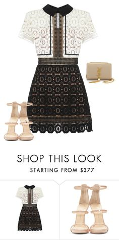 """Untitled #1674"" by quaybrooks on Polyvore featuring self-portrait, Giuseppe Zanotti, Yves Saint Laurent, women's clothing, women, female, woman, misses and juniors"
