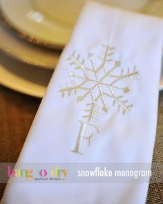 Hang to Dry Applique - Snowflake Monogram, $9.99 (http://www.hangtodryapplique.com/snowflake-monogram/)